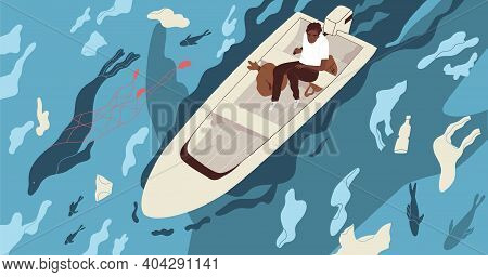 Ecological Catastrophe And Water Contamination Concept. Male Character In Boat On Dirty Sea Contamin
