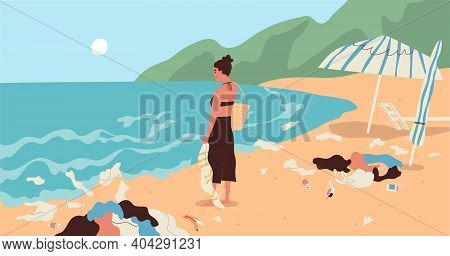 Young Woman At Dirty Sea Coast Full Of Garbage. Marine Summer Scenery With Plastic Trash And Rubbish