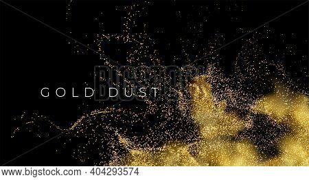 Gold Sequins Glitter Dust Isolated On Black Background. Vector Illustration Eps10