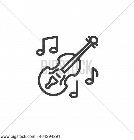 Violin Music Instrument Line Icon. Linear Style Sign For Mobile Concept And Web Design. Musical Note