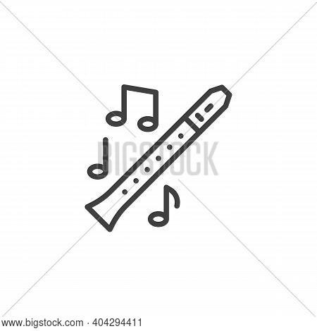 Flute Music Instrument Line Icon. Linear Style Sign For Mobile Concept And Web Design. Musical Notes