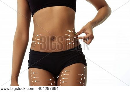 Beautiful Female Body With Lifting Up Arrows Isolated On White Background. Concept Of Bodycare, Cosm