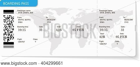 Pattern Of Airline Boarding Pass Ticket In Blue Color. Travel Or Journey By Plane Concept. Blue Boar