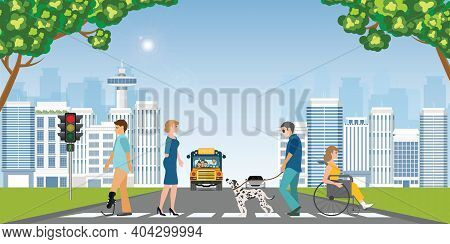 Disabled People Crossing A Crosswalk. Blind Man, Wheelchair, Woman, Urban Traffic, Safety, Rules Con
