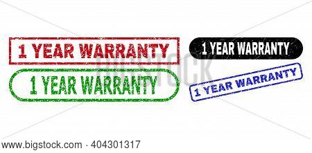 1 Year Warranty Grunge Seals. Flat Vector Grunge Seals With 1 Year Warranty Text Inside Different Re
