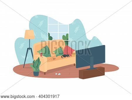 Messy Living Room 2d Vector Web Banner, Poster. Bad Habit. Dirty Sofa In Front Of Tv. Home With Clut