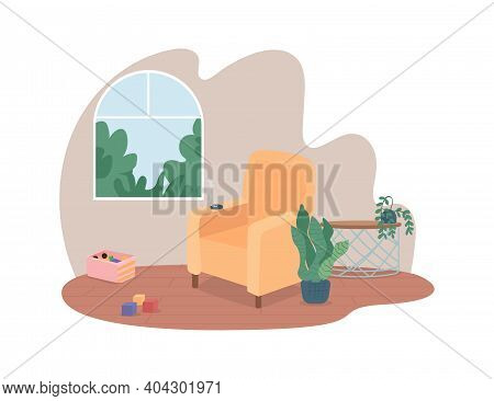 Smoking Harm 2d Vector Web Banner, Poster. Cigarette In Ashtray. Smoker Home Interior Flat Scene On