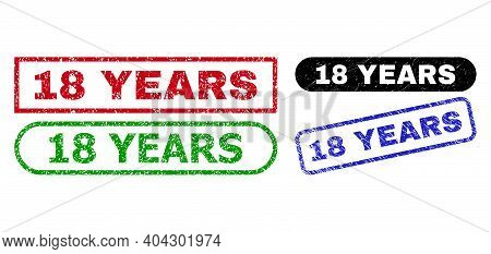 18 Years Grunge Stamps. Flat Vector Distress Seal Stamps With 18 Years Caption Inside Different Rect