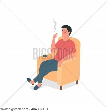 Smoking Man Flat Color Vector Detailed Character. Guy With Cigarette, Ashtray In Armchair. Bad Habit