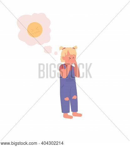 Upset Child Flat Color Vector Detailed Character. Unhappy Girl. Sad Toddler. Depression And Anxiety.