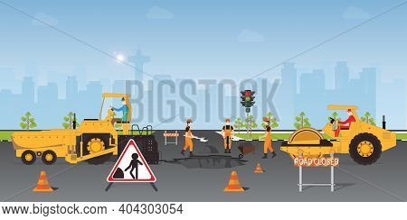 Workers Change The Asphalt, Repair The Road Surface. Road Roller Makes The Paving On Street.road Und