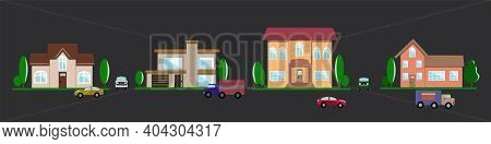 Houses, Courtyards, Trees, Trucks And Cars, Road. Suburb. Family Home. Small City. The Street. Vecto