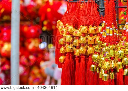 Close Up Chinese New Year Talisman Gift Decoration For Celebrate Year Of The Rat. For Good Luck With