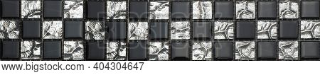Black And White Glossy Mosaic Of Small Squares. Space For The Text.