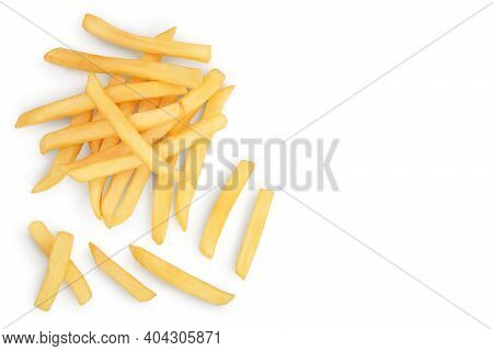French Fries Or Fried Potatoes Isolated On White Background With Clipping Path . Top View With Copy