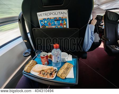 Paris, France - May 20, 2018: Luxury Lunch Inside Eurostar First Train With Metropolitan Magazine Ne