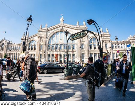 Paris, France - May 20, 2018: Ultra Wide-angle View Of French Street With Iconic Tall Building Of Ga