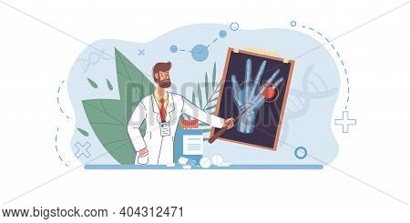 Cartoon Flat Doctor Character In Uniform, Lab Coat With Medical Pictures And Symbols-radiography And