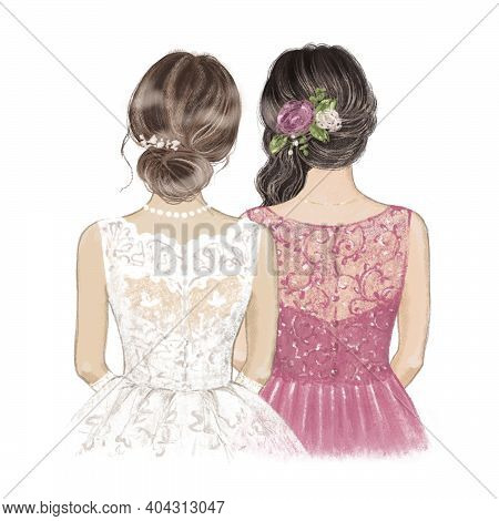 Bride And Maid Of Honour With Roses In Hair. Hand Drawn Illustration