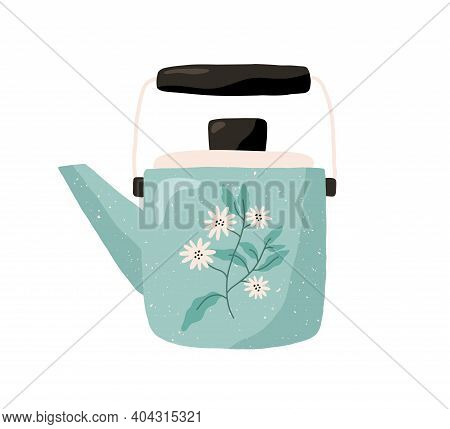 Cute Ceramic Colored Teapot Isolated On White Background. Tea Kettle Painted With Camomile Flowers.