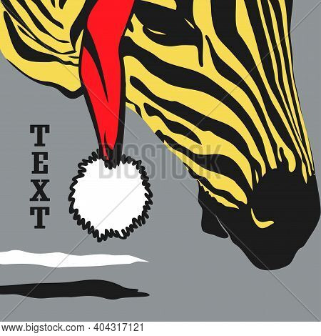 Graphical Poster With Yellow Head Zebra In Santa Claus Closeup On Gray Background, Illustration In P