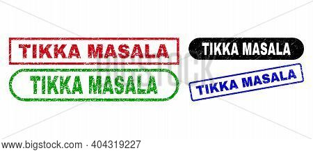 Tikka Masala Grunge Stamps. Flat Vector Scratched Seal Stamps With Tikka Masala Text Inside Differen