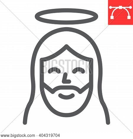 Jesus Line Icon, Happy Easter And Christmas, Jesus Christ Vector Icon, Vector Graphics, Editable Str