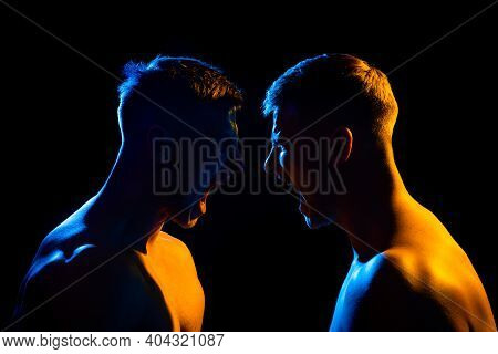 Silhouette Of Man Face In Strength. Rivalry, Shout Screaming Men, Forces