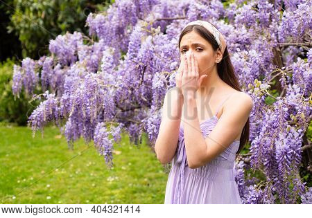 Spring Allergy. Girl With Nose Sneezing. Allergic Symptom Concept. Woman Being Allergic To Blossom O