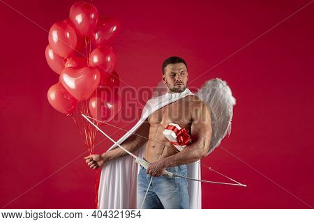 Valentines Day Angel Man. Sexy Male With Angels Wings. Arrow Of Love, Cupid, Amour. February 14. Iso