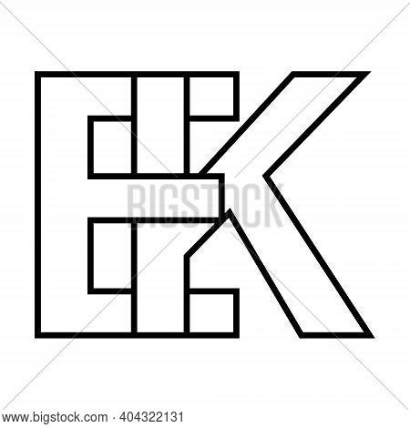 Logo Sign Ek And Ke Icon Sign Interlaced Letters K, E Vector Logo Ek, Ke First Capital Letters Patte