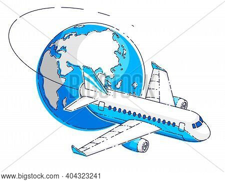 Plane Airliner With Earth Planet, Airlines Air Travel Emblem Or Illustration. Beautiful Thin Line Ve