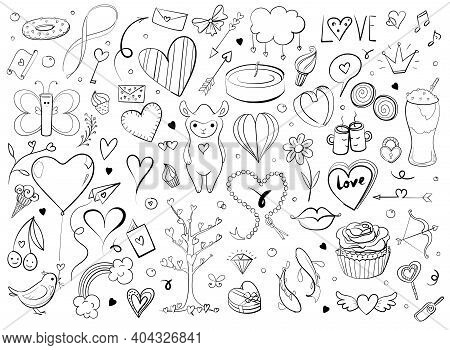 Hand Drawn Sketchy Doodles For Love And Valentine S Day Objects And Signs. Typography And Callygraph