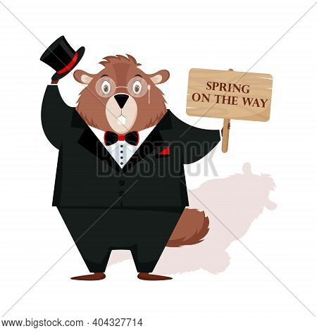 Happy Groundhog Day. Design With Cute Groundhog Character In Tuxedo.