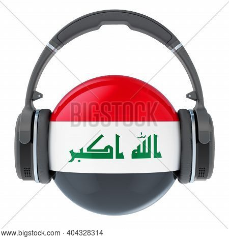 Headphones With Iraqi Flag, 3d Rendering Isolated On White Background