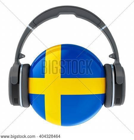 Headphones With Swedish Flag, 3d Rendering Isolated On White Background