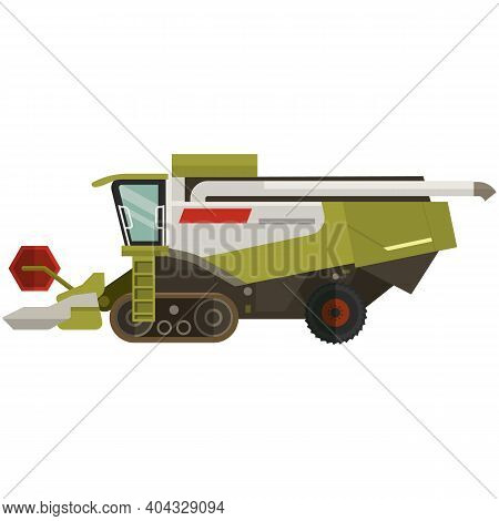 Maize Combine Harvester Farm Machine Icon, Flat Vector Isolated Illustration. Heavy Agricultural Mac