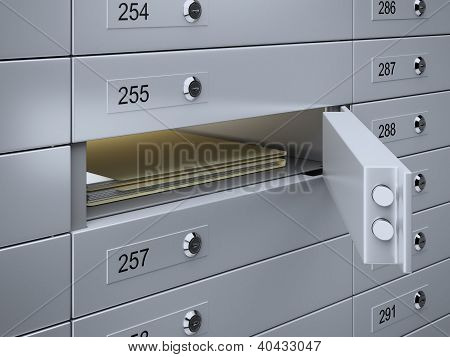3d render of Safety deposit boxes with documents poster