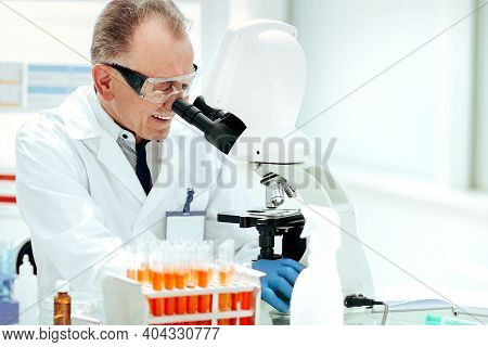 Close Up. Laboratory Technicians Testing Blood In The Laboratory.