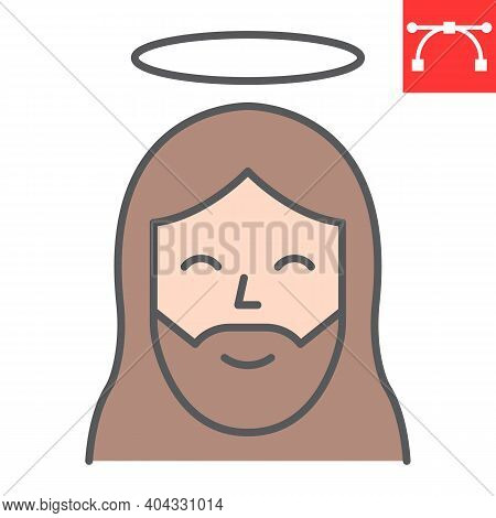 Jesus Color Line Icon, Happy Easter And Christmas, Jesus Christ Vector Icon, Vector Graphics, Editab