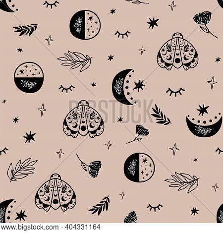 Hipster Moon. Boho Moon Phase Pattern. Seamless Background. Black Graphic Moon Print, Celestial Moth