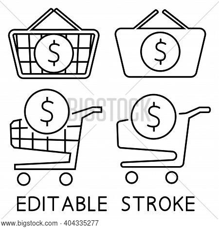 Shopping Cart And Shopping Basket With Dollar Sign Inside. The Order Is Complete. Place An Order. On