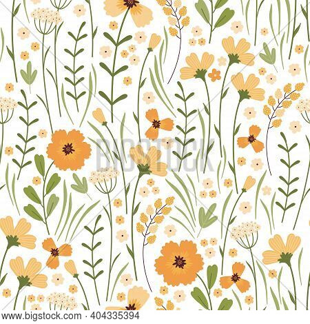 Blooming Summer Meadow Seamless Pattern. Repeating Floral Pattern On White Background. Lot Of Differ