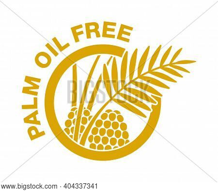 Palm Oil Free Flat Pictogram - Crossed Out Palm Branch Inside Oil Drop - Marking For Unavailability