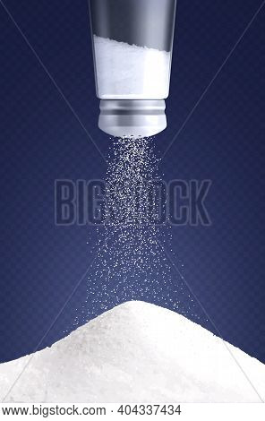 Salt Vertical Composition With Realistic Image Of Salt Cellar Turned Upside Down With Pouring Salt P