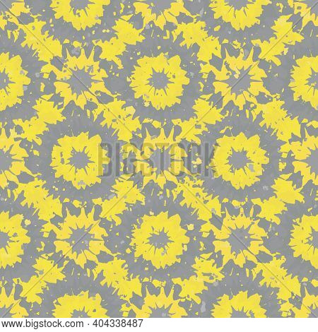 Abstract Grunge Flowers Seamless Vector Pattern Background. Yellow Grey Geometric Backdrop Painterly