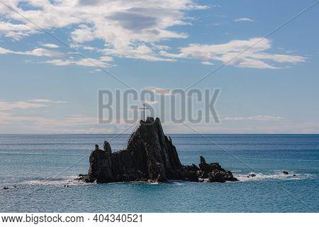View Of Asseu Rock In Riva Trigoso. Winter Sea On Ligurian Coast.