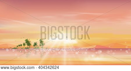 Morning Pink, Orange Sky At Ocean Tropical On Island,panoramic Sea Beach With Coconut Palm Tree And