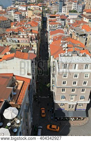 Istanbul, Turkey - October 07, 2020. Skyline Of Istanbul. View To The Northwest From The Galata Towe