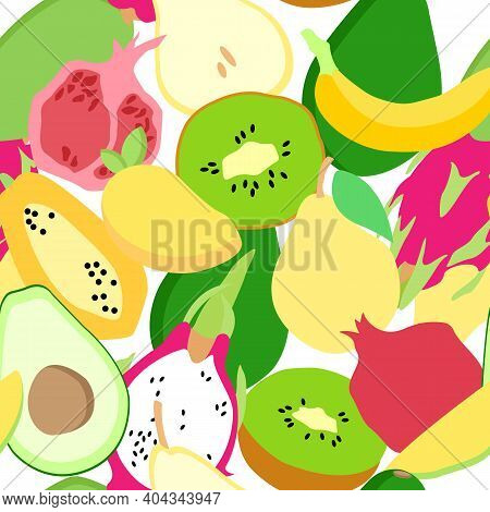 Seamless Pattern With Summer Fruits: Papaya, Banana, Avocado, Pear, Kiwi, Pomegranate, Mango, Pitaya